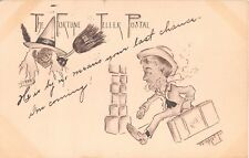 c.1905 Witch & Travelling Man Fortune Teller Postal comic post card
