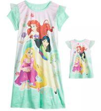 Disney Princess Lt Green Nightgown & Doll Gown Ariel Rapunzel Mulan Size 6 NWT