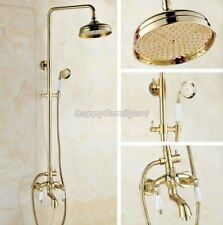 Luxury Gold Color Brass Bathroom Rain Shower Faucet Set Bathtub Mixer Tap ygf431
