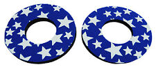 Flite old school BMX bicycle grip foam donuts BLUE w/ WHITE STARS *MADE IN USA*