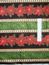 Christmas Fabric - Metallic Poinsettia Stripe - Quilting Treasures QT YARD