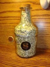 Glass Bottle w/CORK USA Shredded Currency-Shredded Money-CASH  CONFETTI Size
