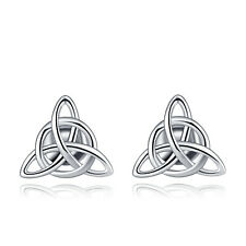 VENSERI 925 Sterling Silver Irish Celtic knot Trinity Triangle Knot Ear Stud