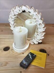 Luminara Mirrored Wall Sconce w/ Wax Pillar Candle Remote White