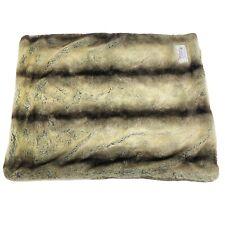 Tiger Dreamz Faux Fur Pet Blanket Two Tone Striped Brown Soft Mat