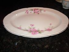 "Edwin M. Knowles China Co 13"" Serving Platter Semi Vitreous Pink  Roses USA"