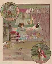 Little Red Riding Hood-Big Bad Wolf In Bed-Fairy Tale-1902 ANTIQUE VINTAGE PRINT