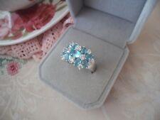 Vintage Jewellery White Gold Ring Aquamarine Sapphire Antique Victorian Jewelry