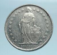 1982 SWITZERLAND 1/2 Francs Coin Genuine HELVETIA Symbolizes SWISS Nation i77770