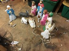 """Vintage Small """"Empire"""" Lighted Nativity Blow Mold Set 9 peices"""