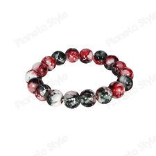 Bracciale Perle Pietre Dure Ø 9 mm Nero Rosso Bianco Sfumato Uomo Donna Elastico