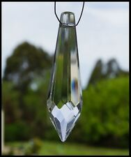 Crystal ICICLE 50mm x 15mm CLEAR Faceted Sparkly Suncatcher 1 hole Pendant Prism