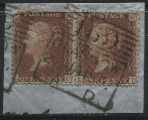 1856 1d Red Stars LC-LD Plate 28 C8 tied to piece by Madeleine Smith duplex (40)