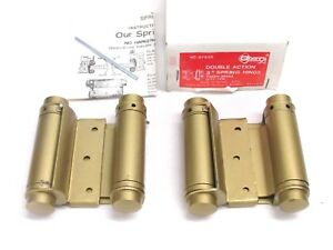 "NEW! 1-Pair GUARD SECURITY DOUBLE ACTION 3"" SPRING HINGES, BRASS FINISH, 87630"