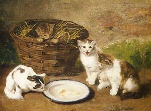 """Art Oil painting animals Kittens by a Bowl of Milk in landscape on canvas 36"""""""