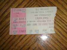 LAURA NYRO / OLD WALDORF S.F. TICKET STUB June 19, 1978 ~ EXCELLENT