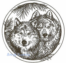 Two Wolves In Pine Circle Wolf Wood Mounted Rubber Stamp NORTHWOODS PP9043 New