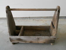 ANTIQUE PRIMITIVE EARLY GRUNGY WOOD WOODEN TOTE