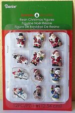 "Miniature Dollhouse Mini CHRISTMAS Tree ~ 12 1⅛"" Resin Santa & Snowman Ornaments"
