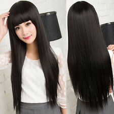 Natural Black Women's Long Straight Full Wig Neat Bangs Daily Costume Hair Gift