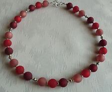 Perlen Kette Halskette Collier Polarisperlen rot weinrot dunkelrot Silber NEU