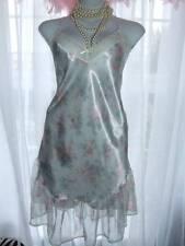 """Slippery Satin Shiny Femme Chemise Slip Nightgown 36"""" Worn  [C93"""