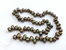 "5-6mm New Peacock/Olive Green Oval Freshwater Pearls 14.5"" Strand Side Drilled"