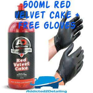AUTOBRITE DIRECT 500ML RED VELVET CAKE ANNIVERSARY HIGH GLOSS CAR SHAMPOO+GLOVES