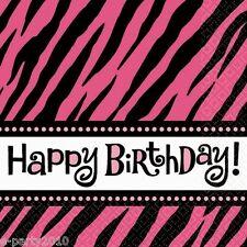 PINK ZEBRA STRIPES Happy Birthday SMALL NAPKINS (16) ~ Party Supplies Dessert