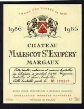 MARGAUX 3E GCC ETIQUETTE CHATEAU MALESCOT ST EXUPERY 1986 NUMEROTEE §21/03/18§