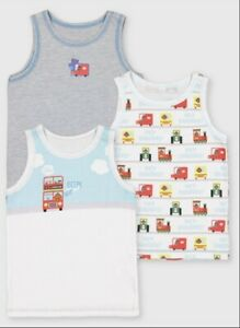 Hey Duggee TU 3 Pack Boys Vests 4-5 Years New Vehicles Tractors Trains Buses