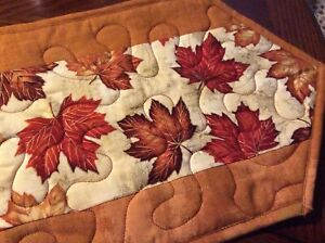Handcrafted-Quilted Table Runner - Maple Leaves - Gold and Rust Outlined in Gold
