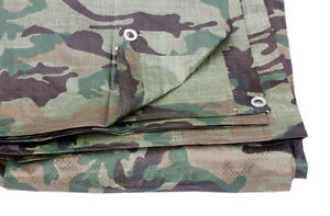 Single Camouflage Tarpaulin Cover Ground Sheet 2.4M X 3M 80 Gsm
