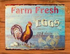 TIN SIGN Farm Fresh Eggs Chicken 50 Cents Rooster Chicken Farm Barn Coop