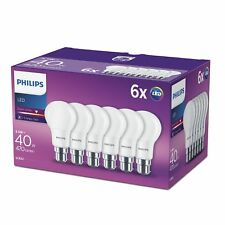 6 PK Philips LED Frosted B22 Bayonet Cap 40w Warm White Light Bulbs Lamp 470 LM