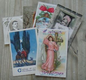 6 x Early Used Christmas Greetings Postcards – All Listed