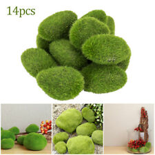 14PC Artificial Fake Moss Stone Rock Ball Realistic Garden Decor Fuzzy Green
