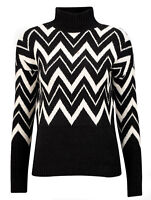 Ladies Black and White Zig Zag Polo Neck Jumper In UK Size 8-26 -EU 34-52