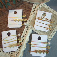 Fashion Women Gold Love Heart Clip Hairpin Barrette Bobby Stick Hair Accessories