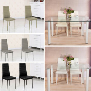 2/4/6pcs Dining Chairs Metal Leg Faux Leather Padded Seat Kitchen Home Furniture