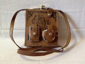 Gentleman's set flask glass lighter in original case belt bag gift