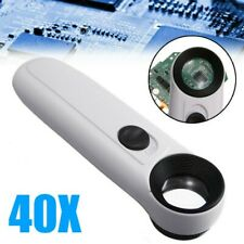 40X Magnifying Glass Eye Jewelry Loupe Loop Hand Held Magnifier with LED Light