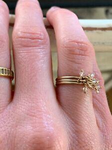 Me&Ro 10k Yellow Gold Quartz Dangle Rings Set Boho