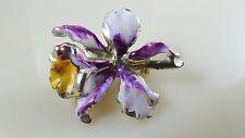Vintage Orchid Iris Flower Brooch Pin Enamel Gold Tone Purple White Yellow