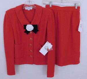 St. John Collection Red Knit Flower Blazer & Skirt Suit S/2 NWT- $850