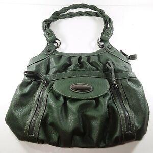 Rosetti Handbag Shoulder Bag Purse Dark Green Faux Leather Double Twisted Handle