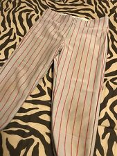 Boys Youth Badeball Pants Gray With Red Pinstripe Size 10/12