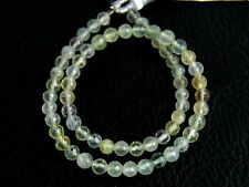 4mm. Natural Green Prehnite Faceted Round Ball Gemstone Beads 8""
