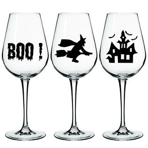 HALLOWEEN SPOOKY HORROR SCARY BLACK VINYL STICKERS SET OF 3 FOR WINE GLASS