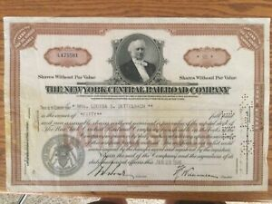 Train room decoration NEW YORK CENTRAL RAILROAD. NYC  (cxld) STOCK CERTIFICATE